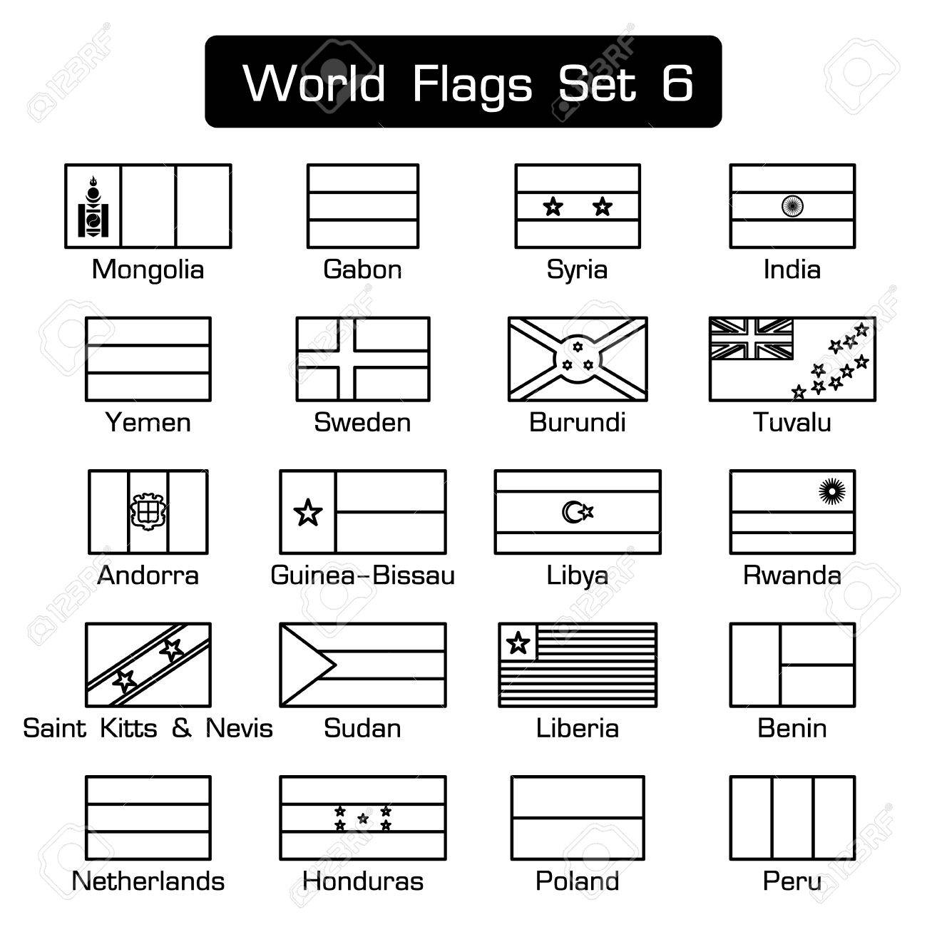World flags set 6 . simple style and flat design . thick outline . - 68413643