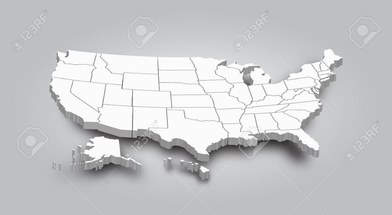 Map Of America 3d Vector.3d Map Of United State Of America