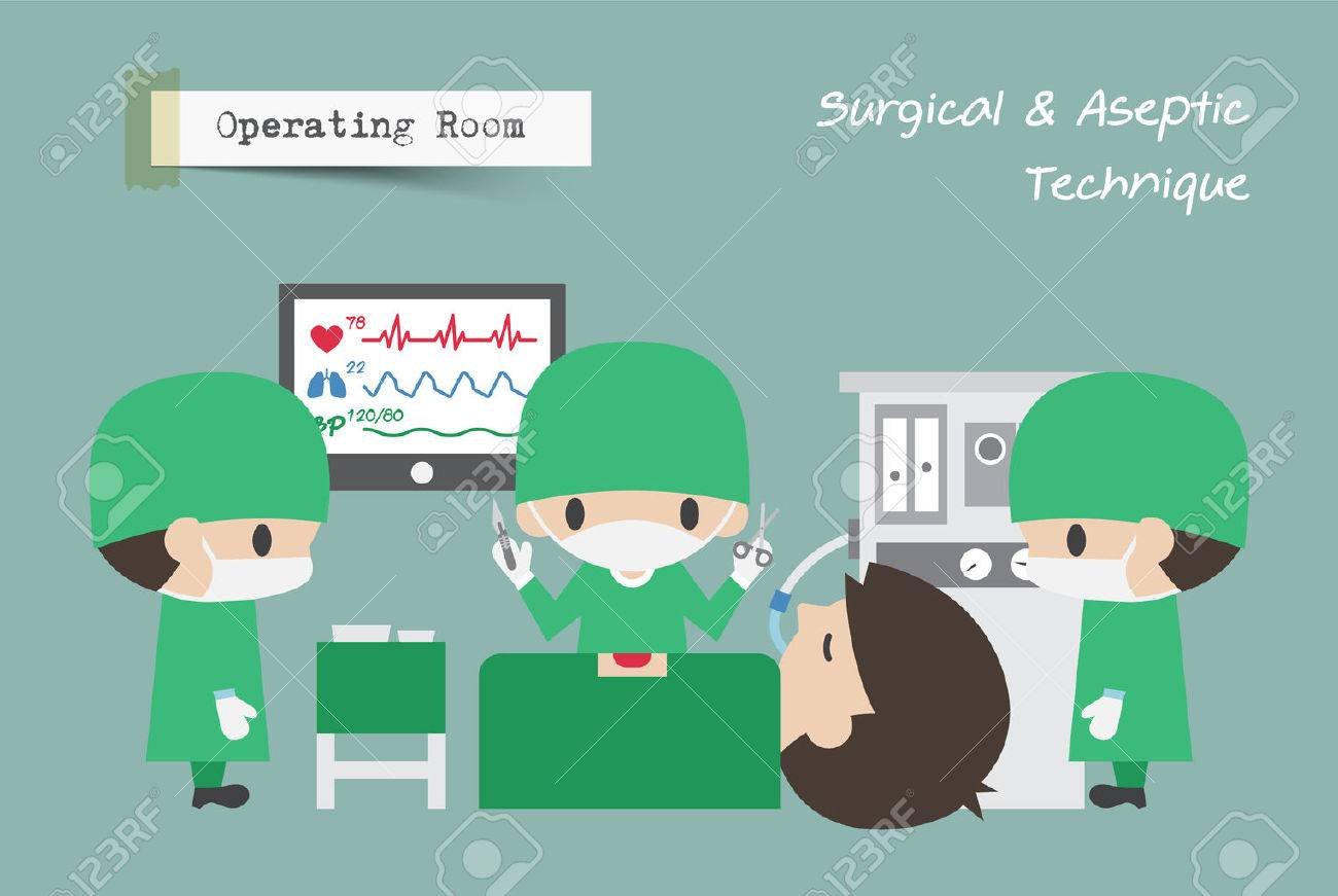Operating Room ( OR ) . Surgeon , Assistant and Anaesthetist operate on patient . Vector . - 86956024