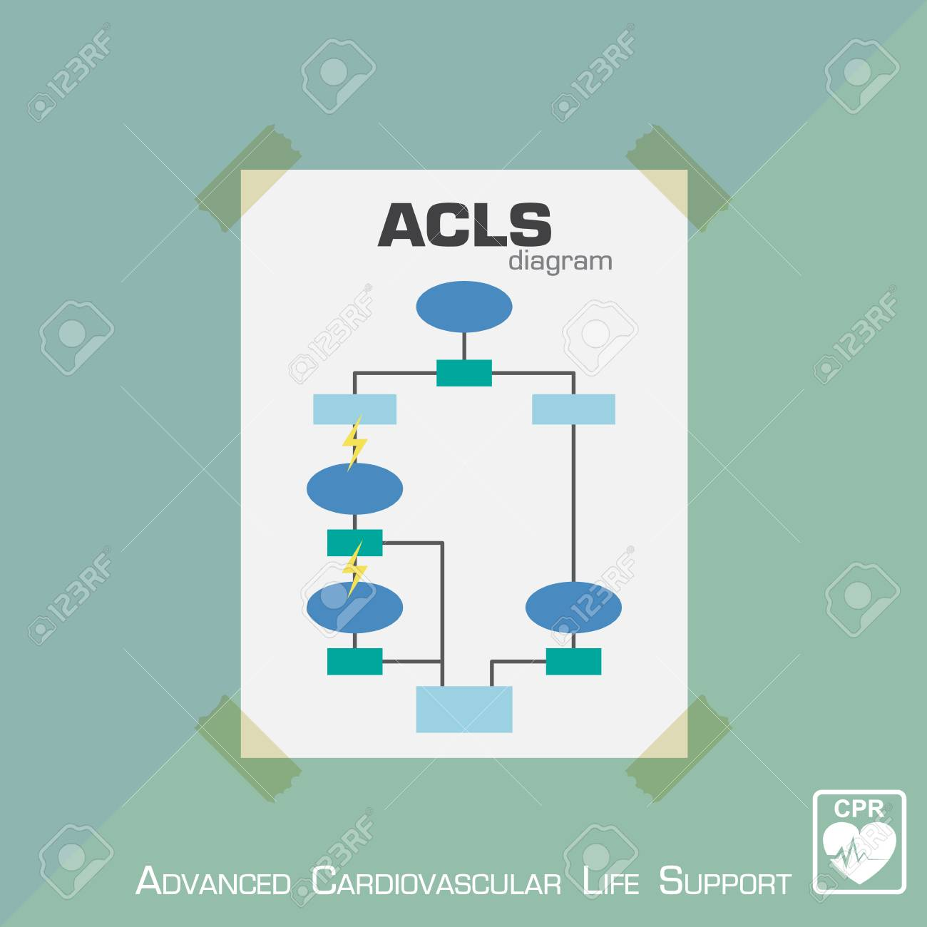 Advanced Cardiovascular Life Support ( ACLS ) Diagram . Flat ...