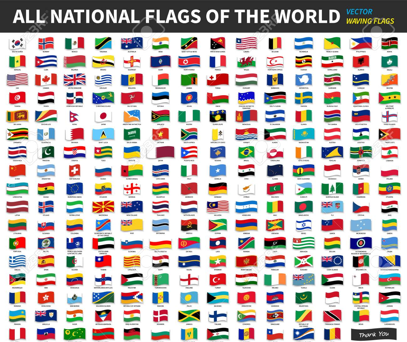 All official national flags of the world . Waving design . Vector . - 94025339
