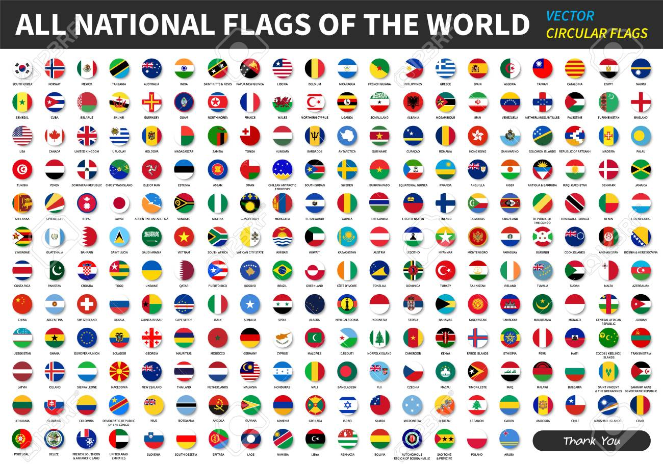 All official national flags of the world . circular design . Vector . - 94302215