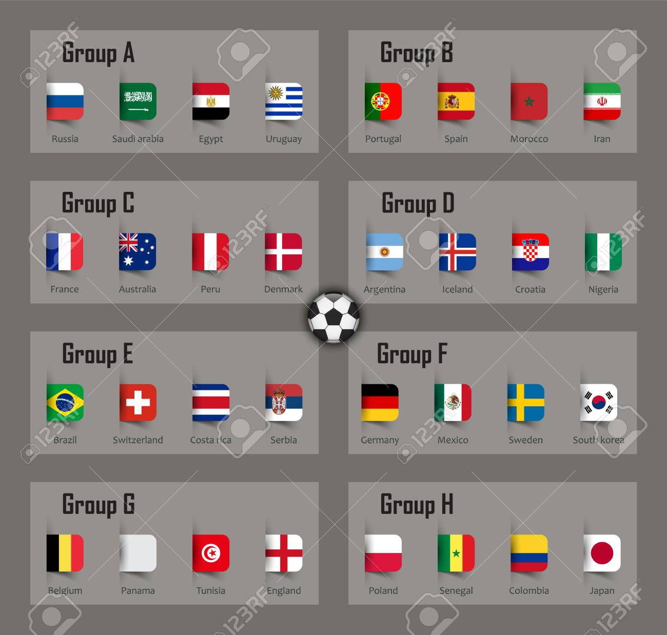 Soccer cup 2018 team group and national flags. Vector for international  world championship tournament. a682b8225