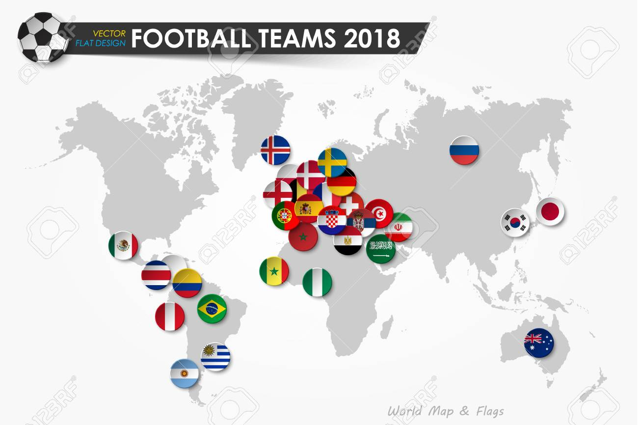 Soccer cup 2018 country flags of football teams on world map country flags of football teams on world map background vector for gumiabroncs Choice Image