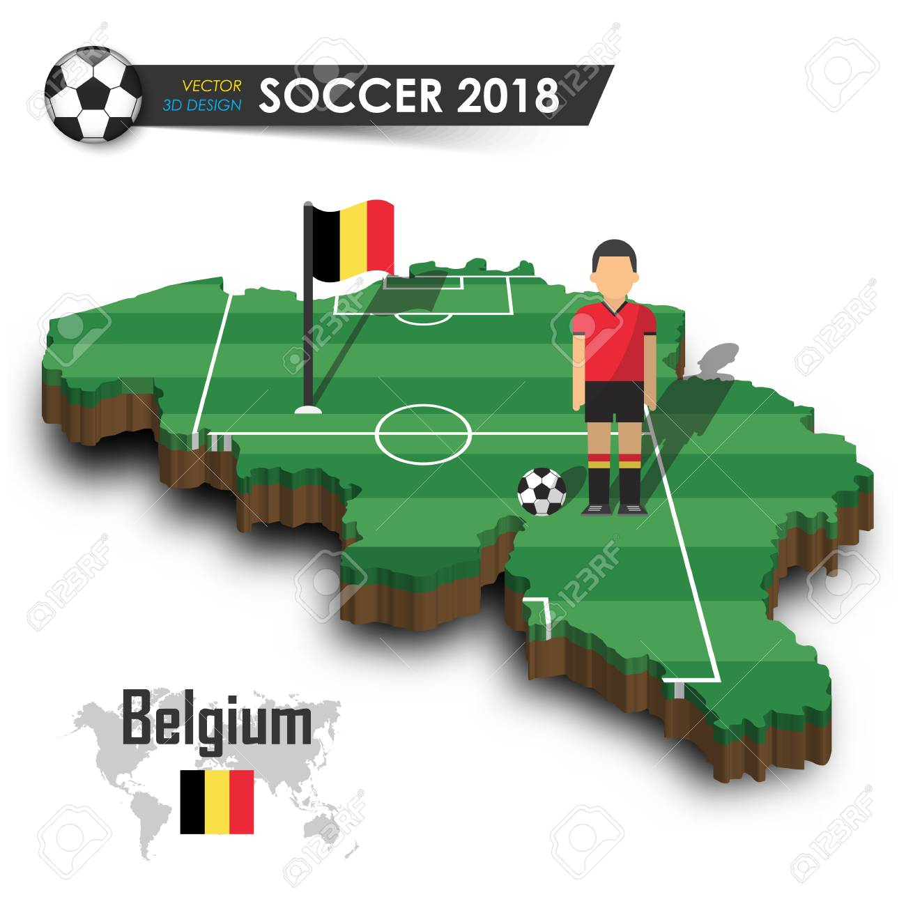 Vector for international world championship tournament 2018 concept . Belgium  national soccer team . Football player and flag on 3d design country map .  ... a0f00a8de