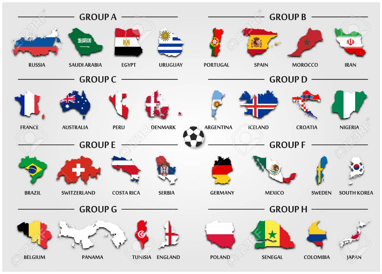 Vector for international world championship tournament 2018 . Football or Soccer  cup team group set . Country map with national flag . Vector for 4d2038604