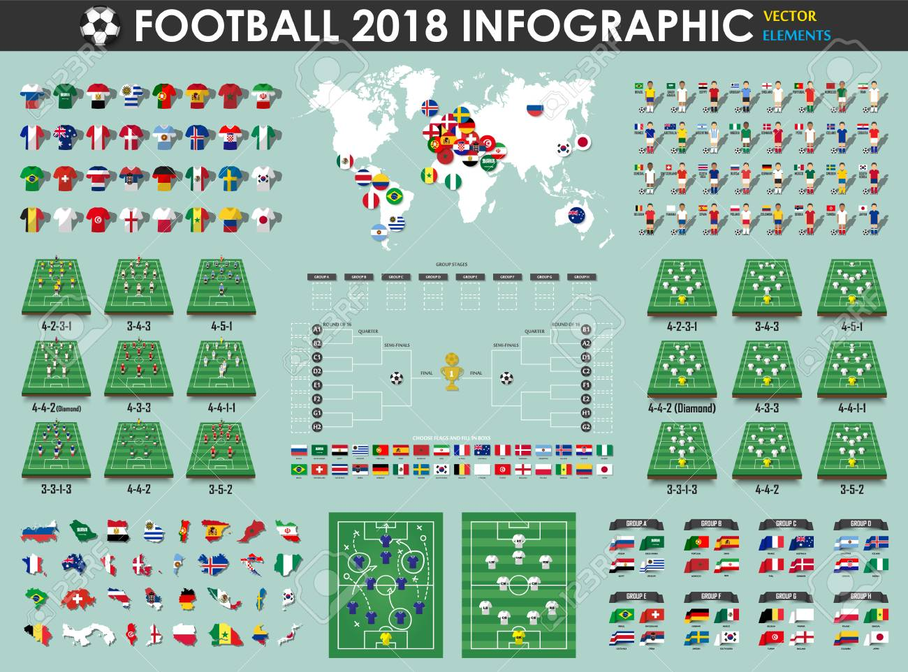 Vector for international world championship tournament 2018 . Flat design .  Football or Soccer cup infographic elements ( footballer  3a1207b01