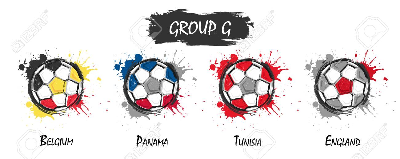 Set of national football team group G . Realistic watercolor art paint with  stained splash color 32959b311