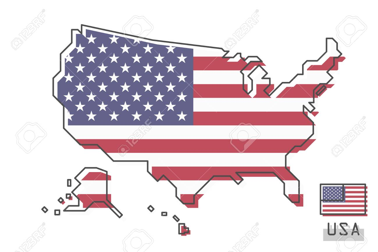 United States Of America Map And Flag Modern Simple Line Cartoon Royalty Free Cliparts Vectors And Stock Illustration Image 121197065