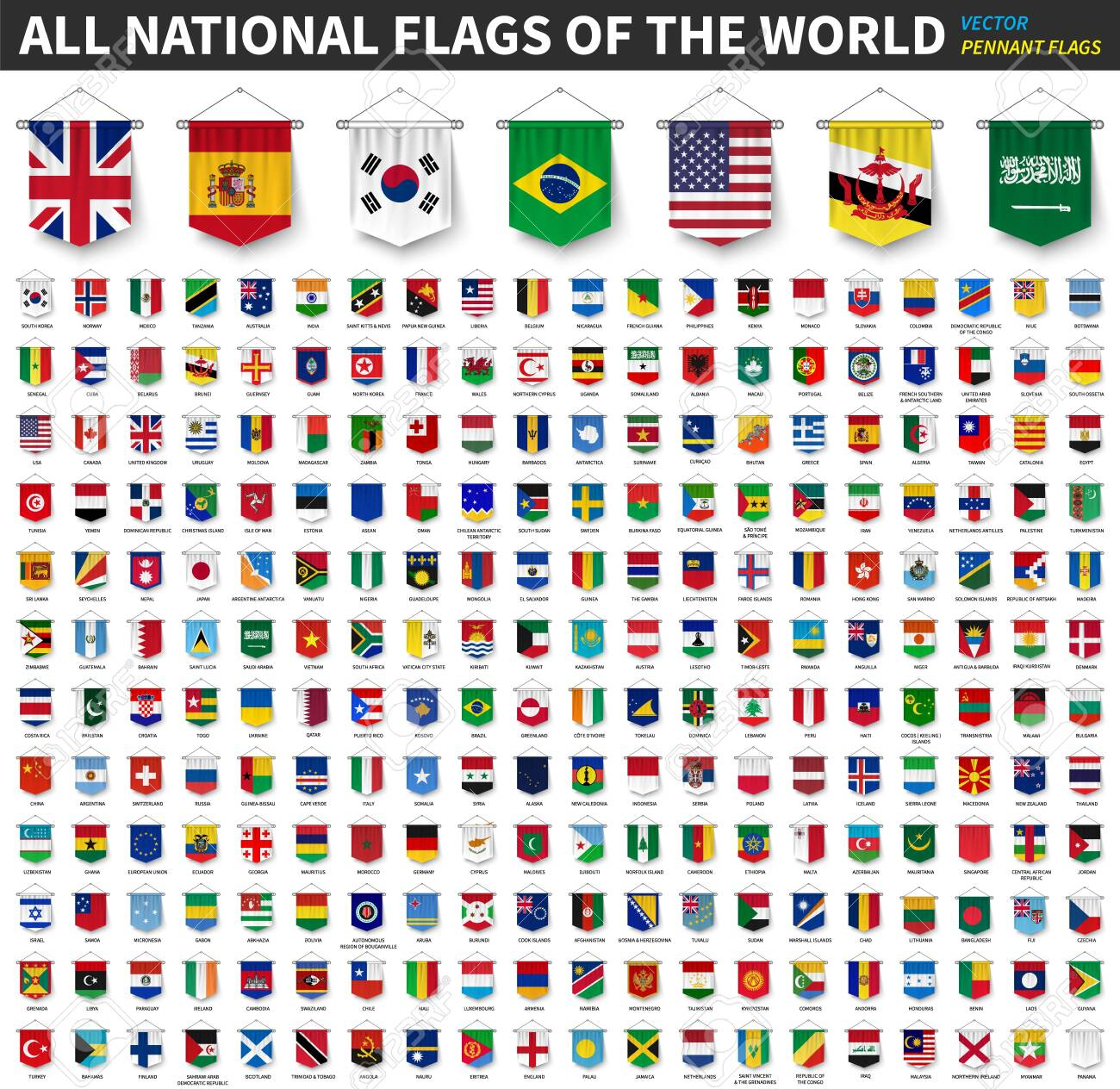 All national flags of the world . 3D realistic pennant hanging design . White isolated background . Vector . - 132091758