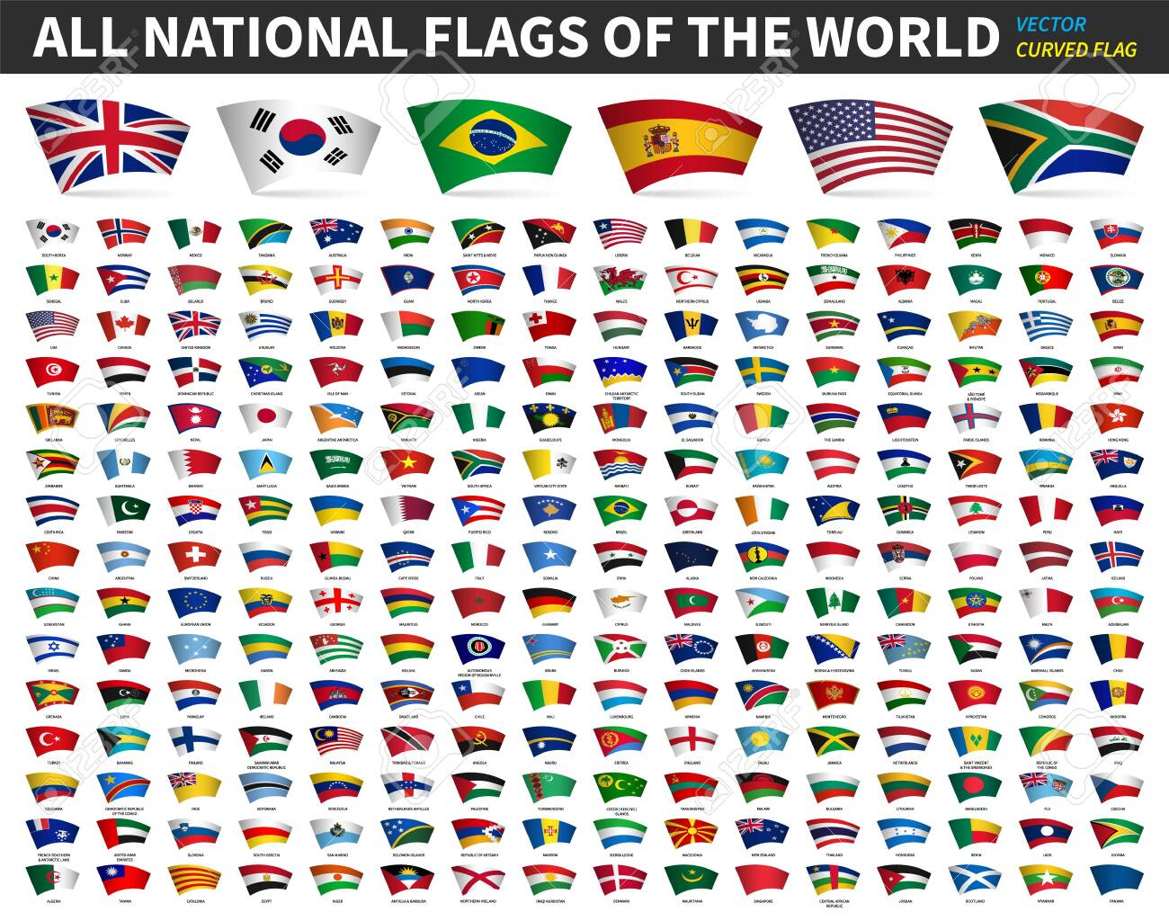 All national flags of the world . Curved design . White isolated background . Elements vector . - 133829472