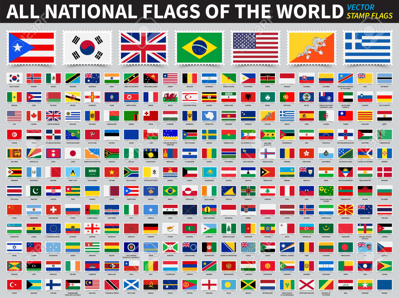 Set of all national flags of the world . Stamp flag design . Element vector . - 167089667