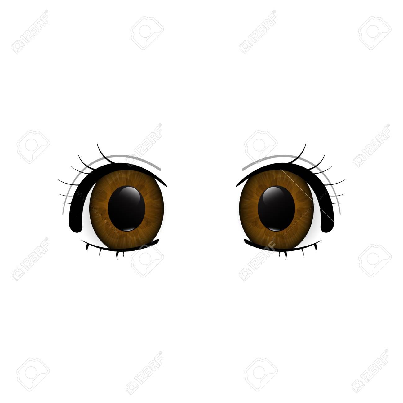 Anime Eyes Primer Plano De Los Ojos Humanos Hermosos Ojos Grandes Dibujos Animados Ilustración Vectorial