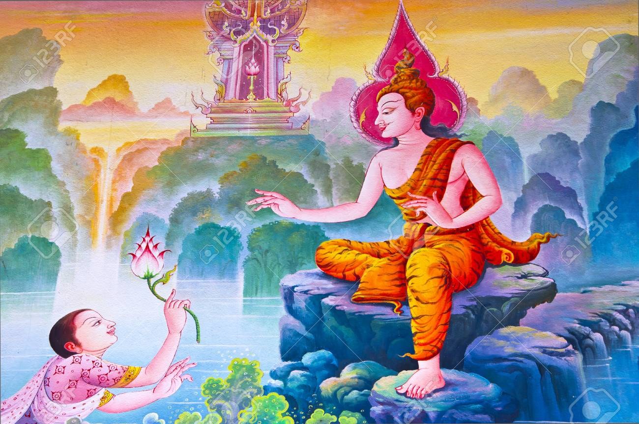 Generality in Thailand, any kind of art decorated in Buddhist church, temple pavilion, temple hall, monk�s house etc. created with money donated by people to hire artist. They are public domain or treasure of Buddhist, no restrict in copy or use, no name Stock Photo - 9267277