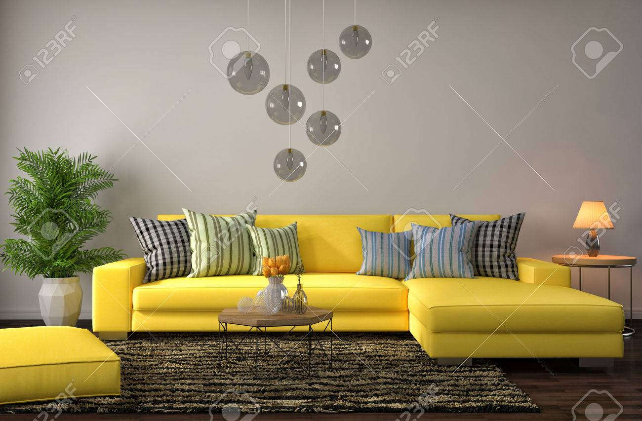 illustration interior with yellow sofa 3d illustration - Yellow Couch