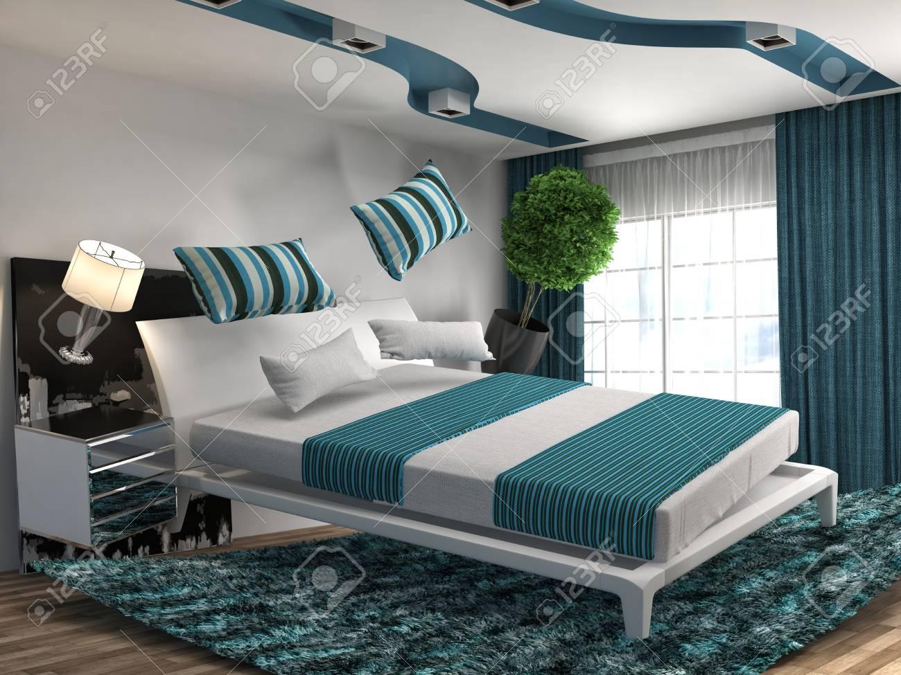 Zero Gravity Bed Hovering In Living Room. 3d Illustration Stock ...