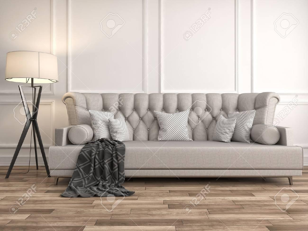 interior with sofa. 3d illustration - 54854535