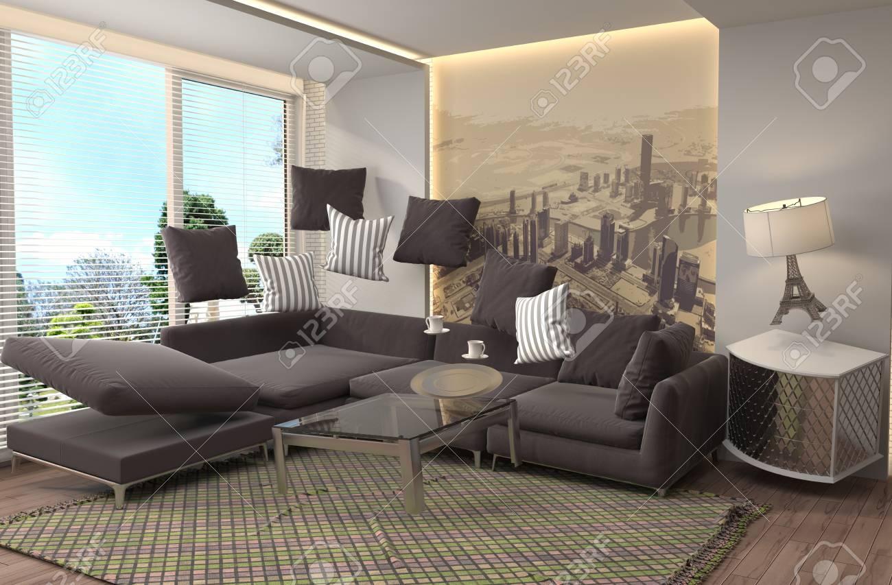 Mobili a gravità zero sospesi nel soggiorno illustrazione d foto