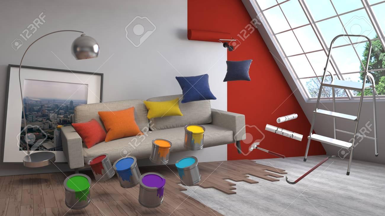 Die Reparatur Und Die Malerei Der Wände Im Raum. 3D Darstellung. Standard