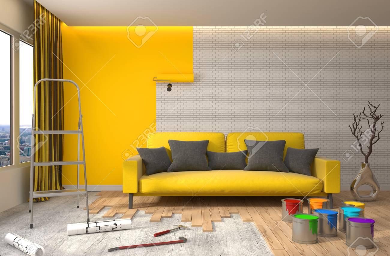 Réparation Et Peinture Des Murs Dans La Chambre Illustration 3d
