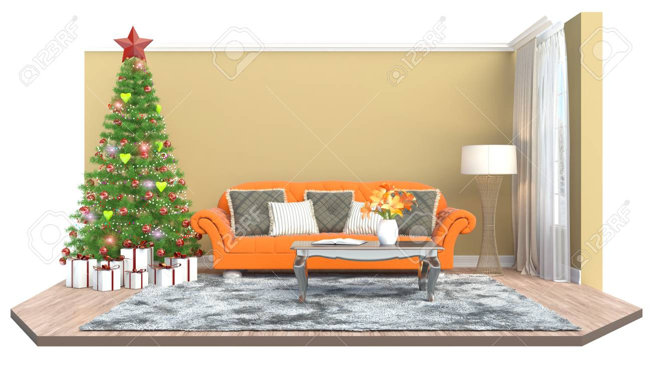 Christmas Tree With Decorations In The Living Room. 3d Illustration ...