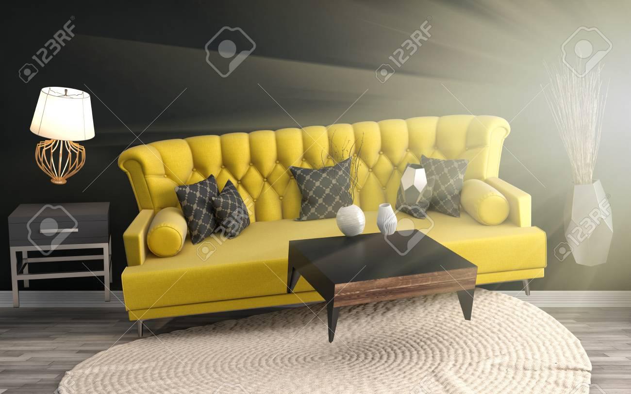 Zero Gravity Sofa Hovering In Living Room. 3D Illustration Stock ...