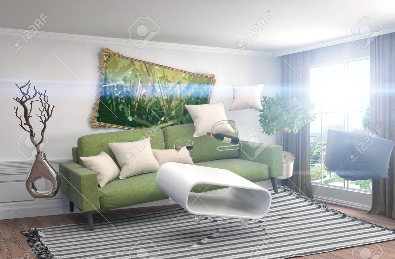 Mobili a gravità zero sospesi nel soggiorno. Illustrazione 3D