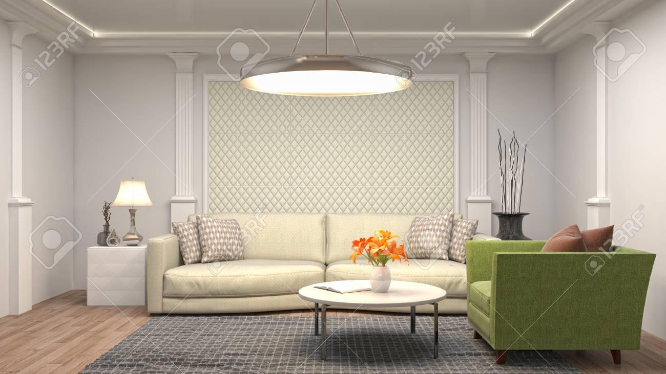 Binnenlandse Woonkamer. 3D-afbeelding Royalty-Vrije Foto, Plaatjes ...