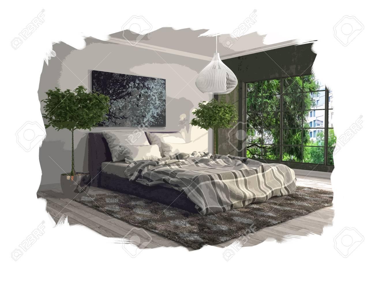 interior sketch design of bedroom. 3D