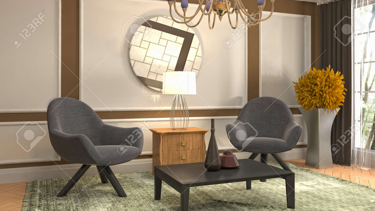 interior with chair. 3d illustration. - 128712833