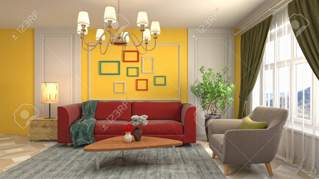 Interior of the living room. 3D illustration. - 136477232