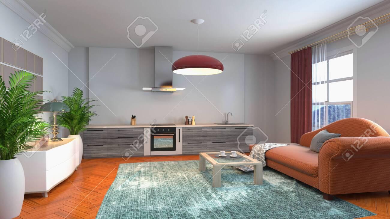 Interior of the living room. 3D illustration. - 141123354