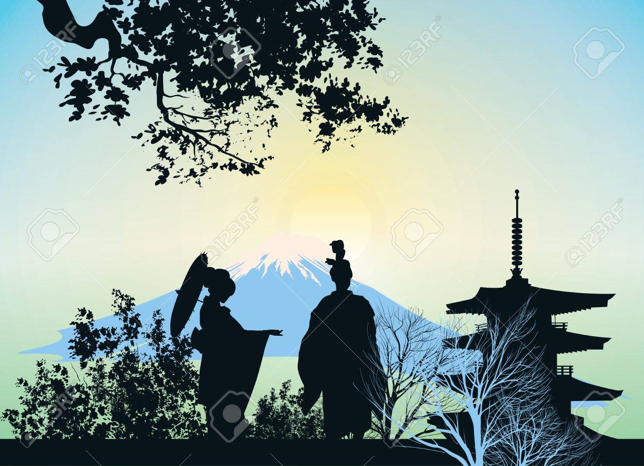 beautiful picture of a geisha, mountains and trees Stock Vector - 13922109