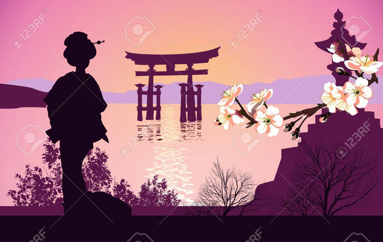 Geisha mountains in the background and the Japanese gate Stock Vector - 13922188