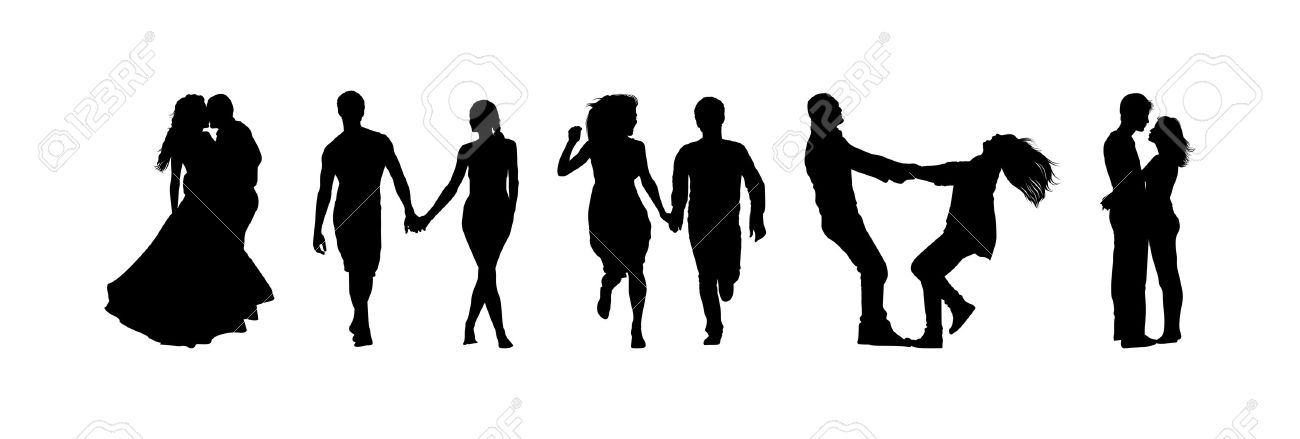 silhouettes of couples in love Stock Vector - 13914351