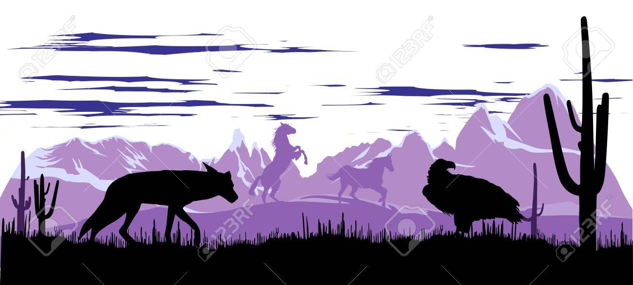 Wild horses, coyote and eagle in the steppes of Argentina at dawn Stock Vector - 13920643