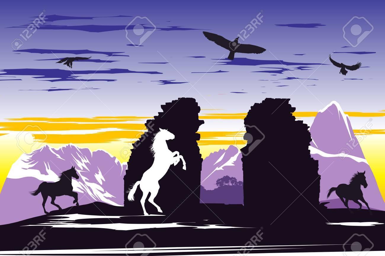 Black horses near the broken rocks on the sunset background Stock Vector - 13921130