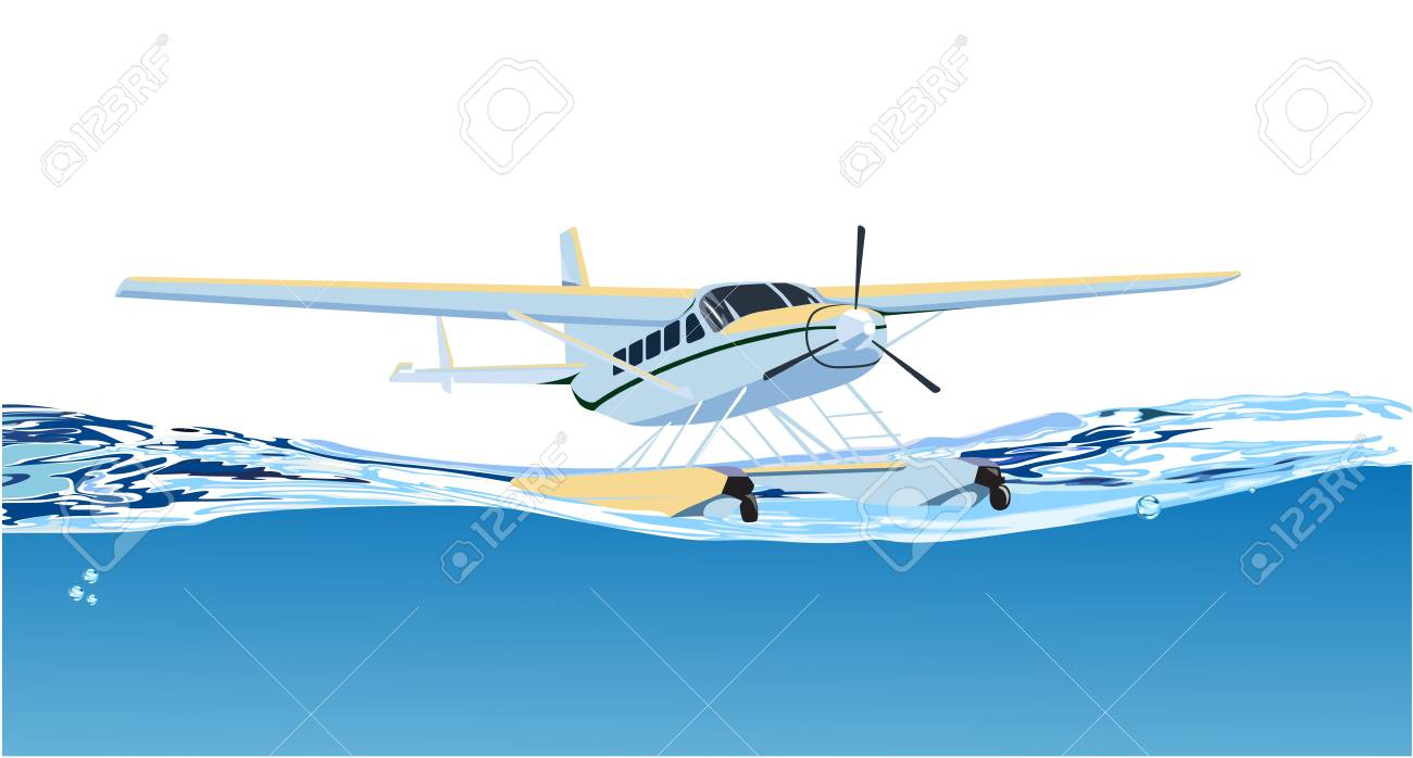 seaplane on the sea Stock Vector - 13920375
