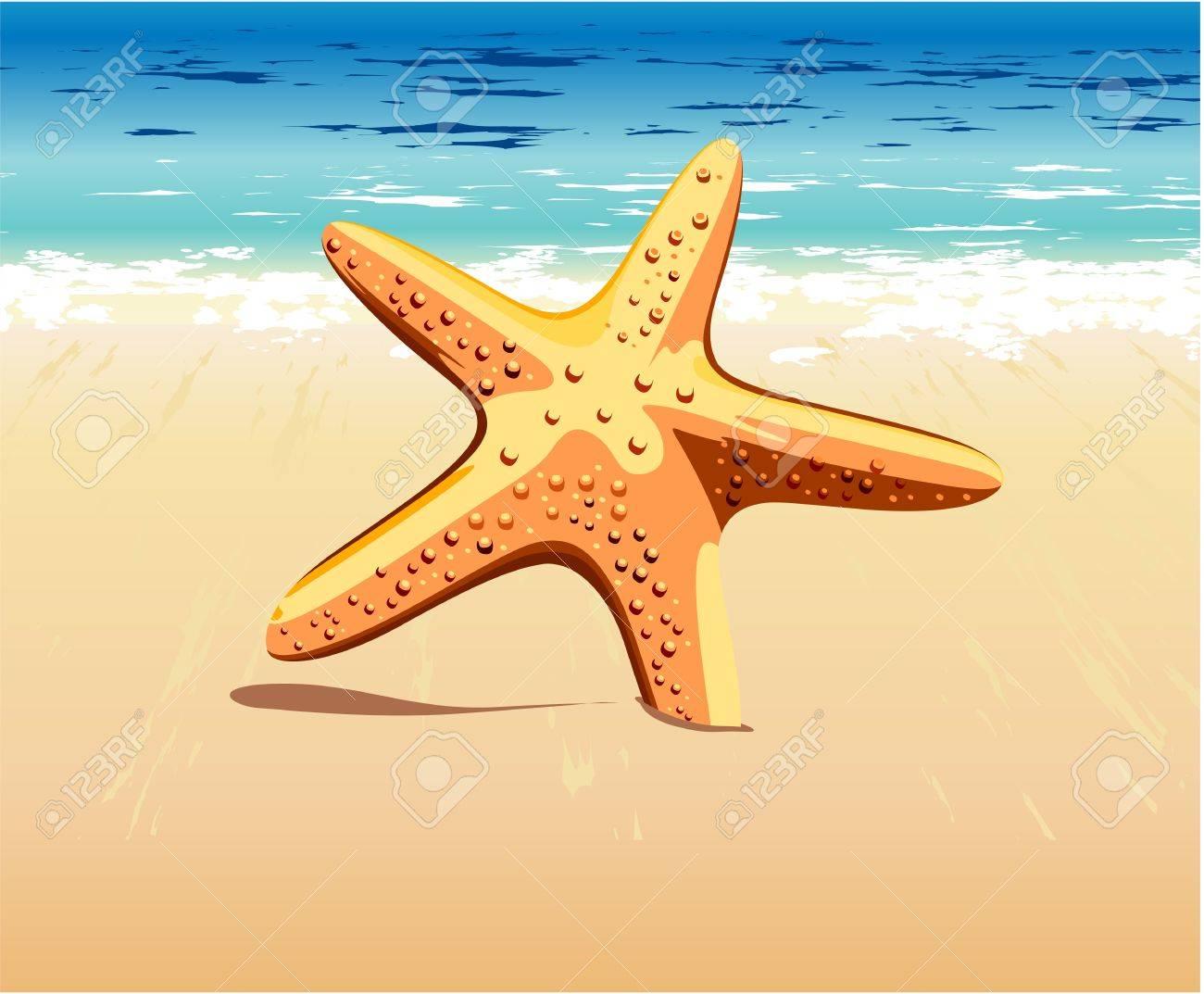 starfish stuck in the sand near the sea Stock Vector - 13920658