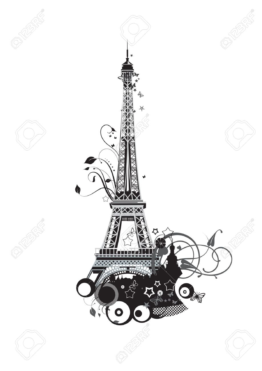 Paris Eiffel Tower In Black And White Colors Stock Vector
