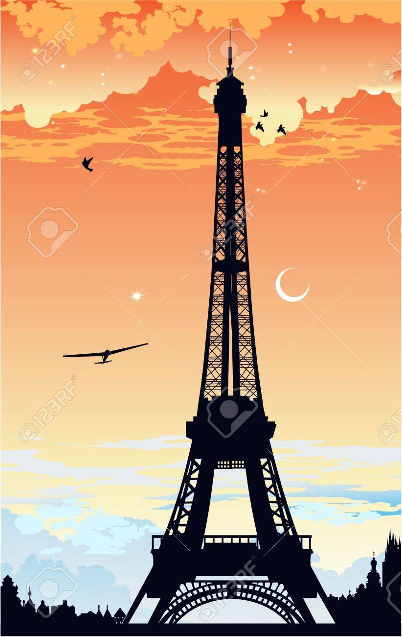 Eiffel Tower at sunset Stock Vector - 13921115