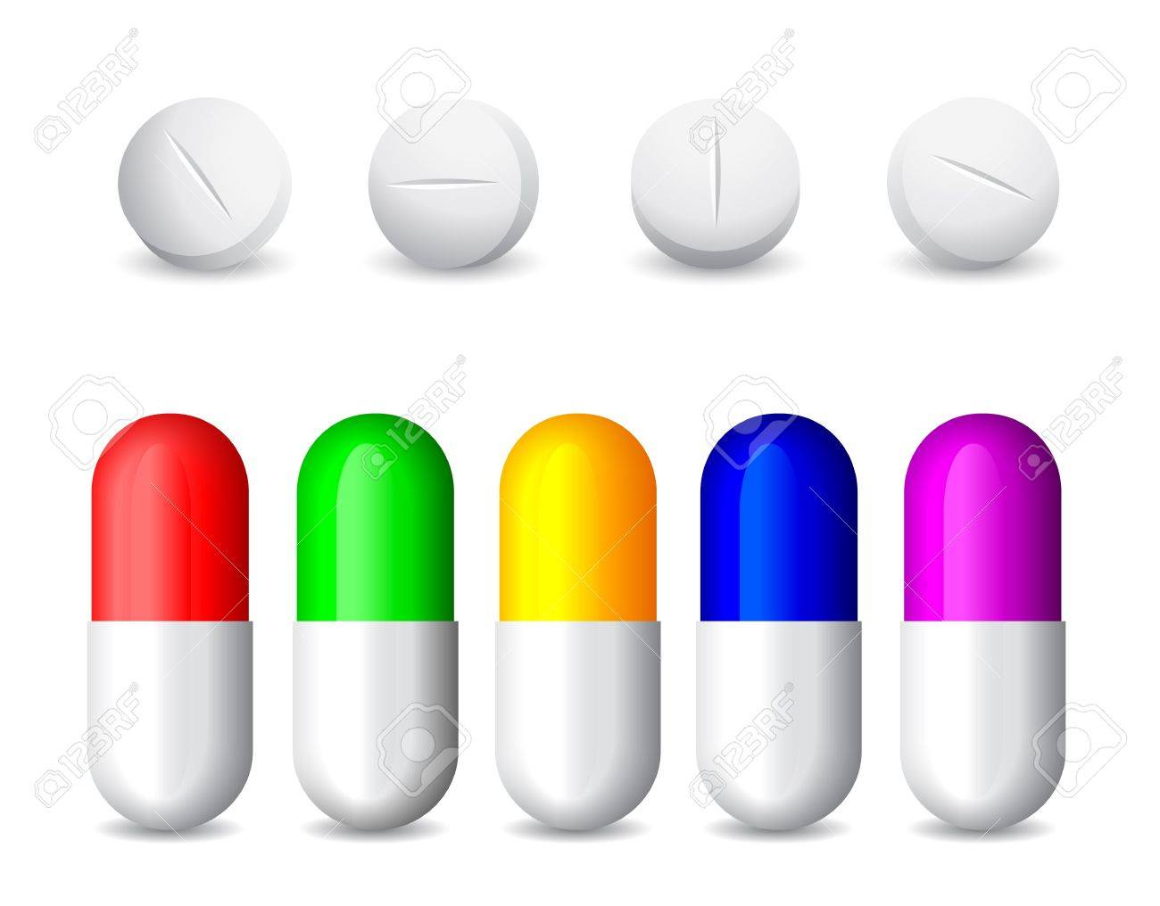 icon of white tablets and colorful  pills Stock Vector - 13921368