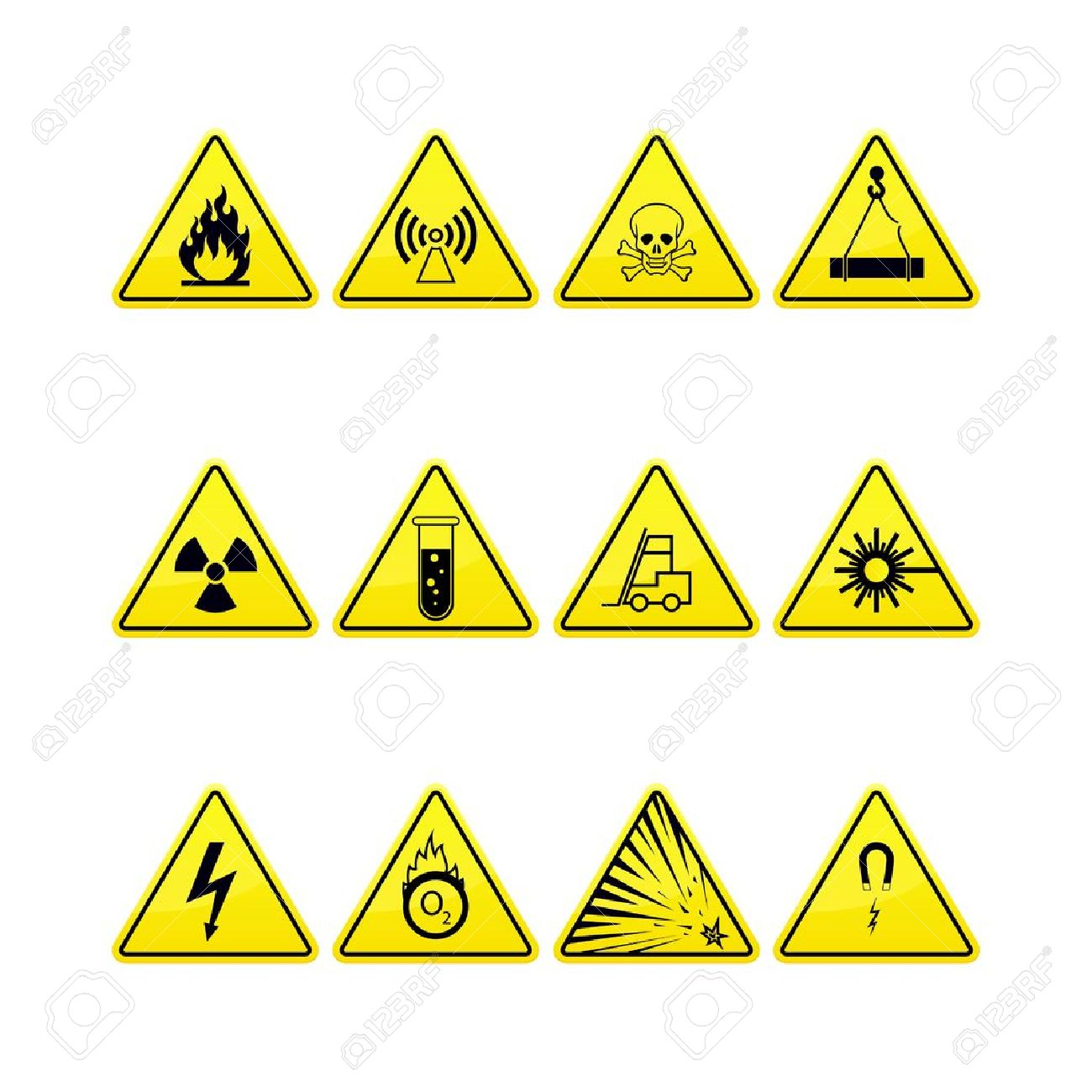 Yellow warning and danger icons collection Stock Vector - 15651958