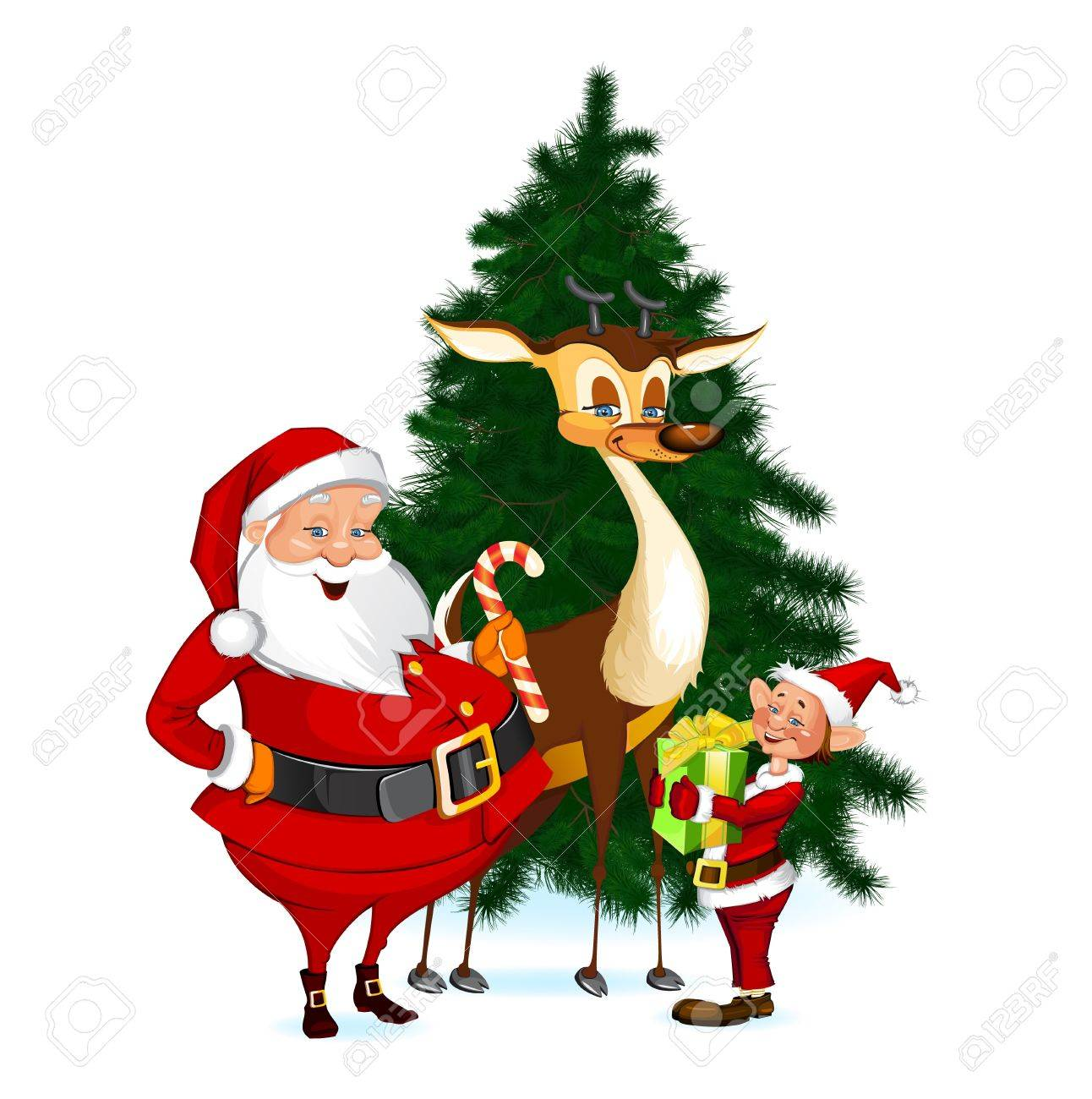 Santa Claus, Reindeer and Elf Stock Vector - 16219127