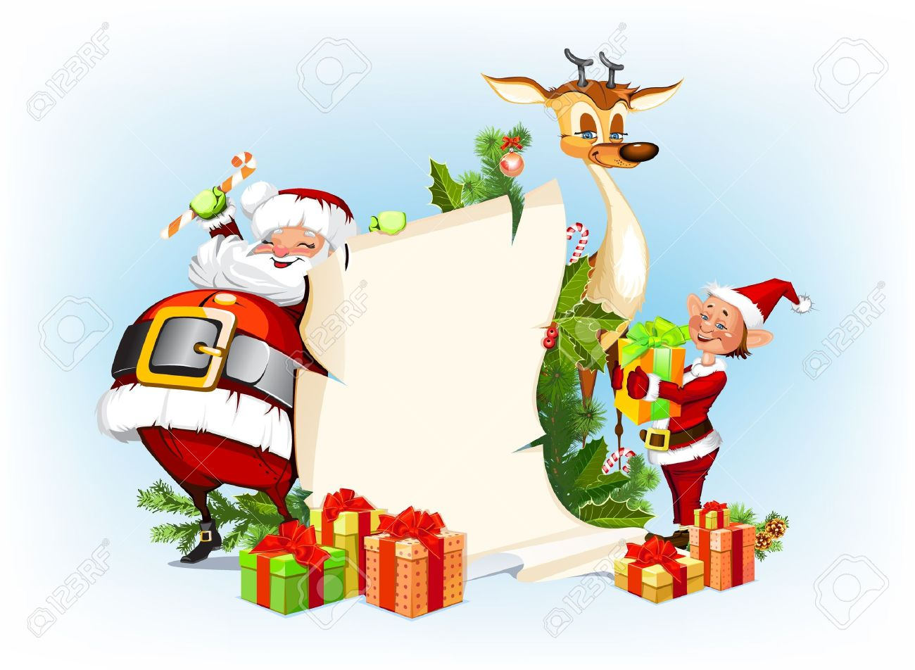 background with reindeer, Santa Claus and his elves Stock Vector - 16386368