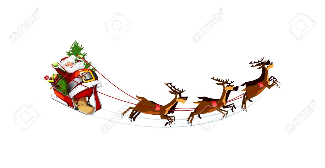 vector white background with santa claus flying his sleigh - Santa Claus And Reindeers