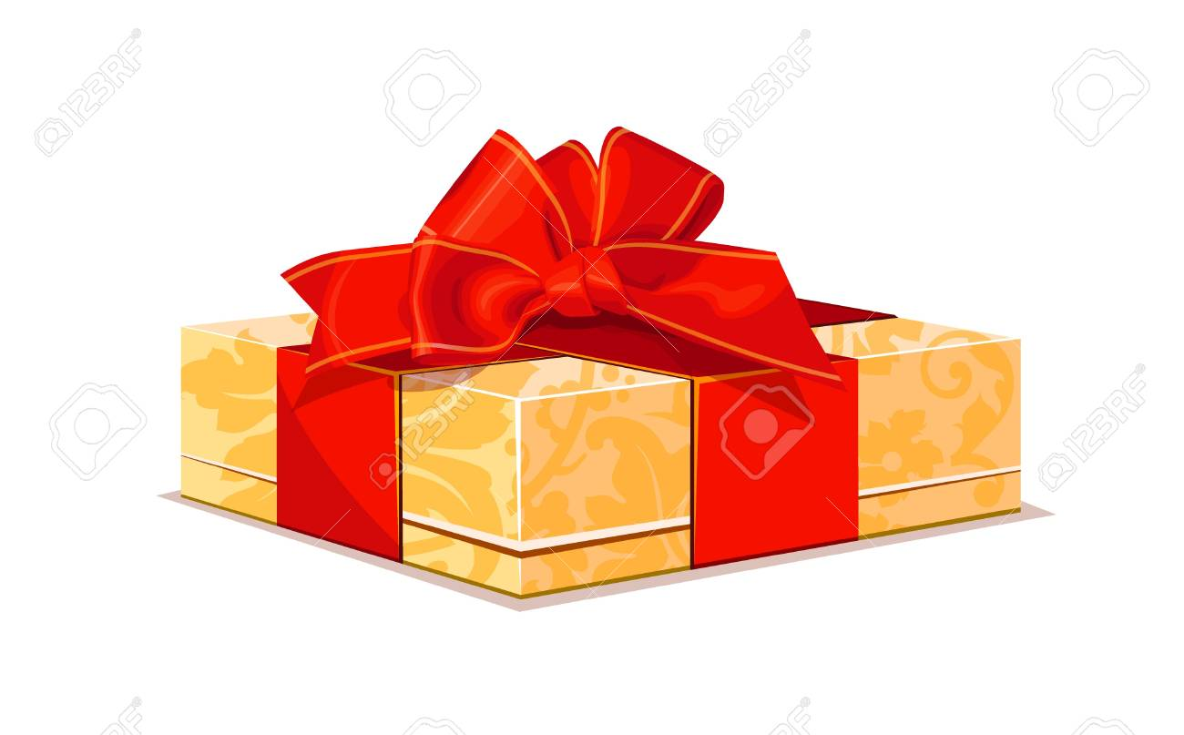 beige gift with red bow Stock Vector - 16712167