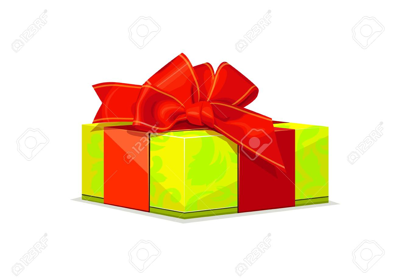 illustration of green gift with red bow Stock Vector - 16712163