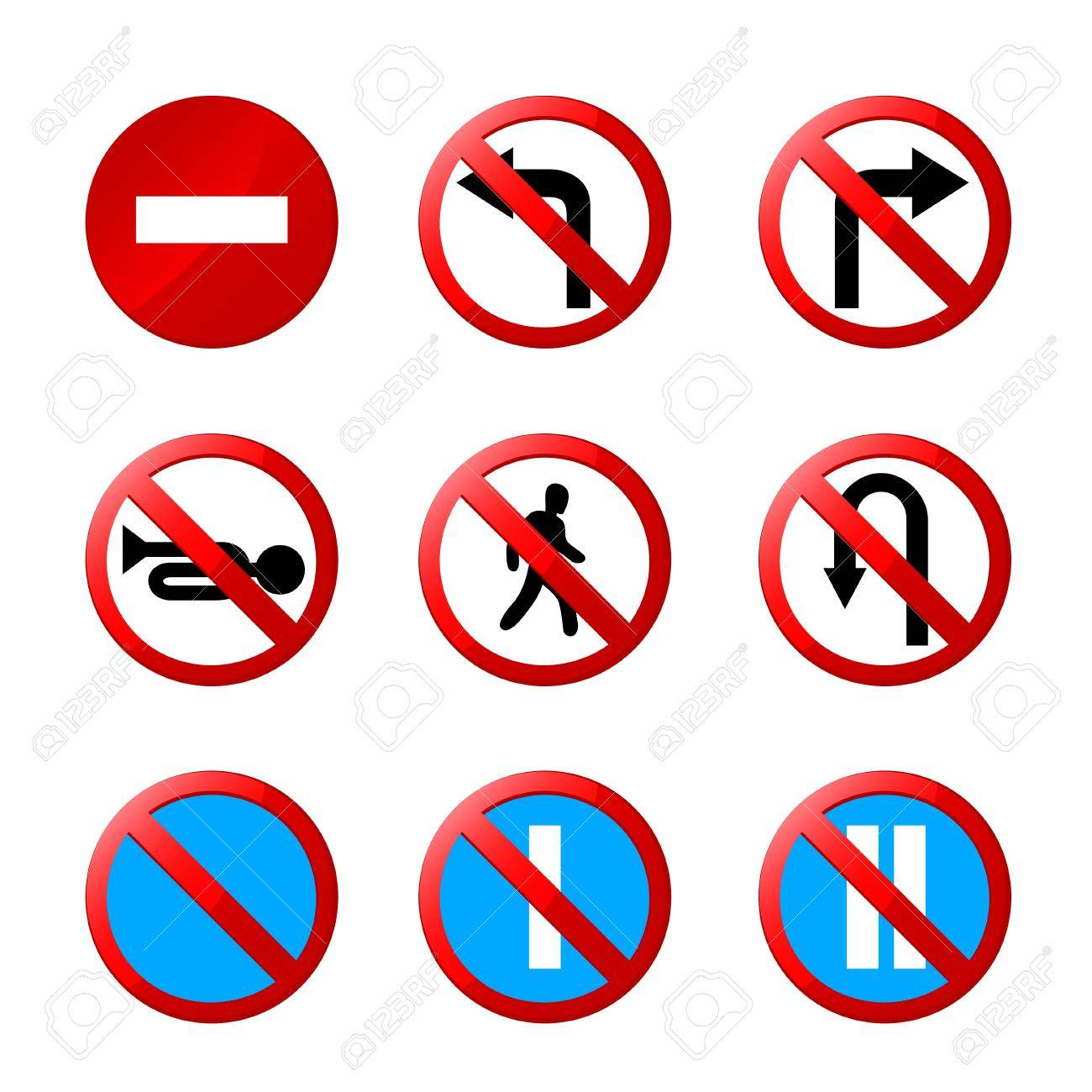 european road signs with details Stock Vector - 17670856