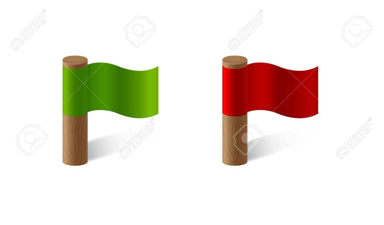 red and green flags Stock Vector - 19267792